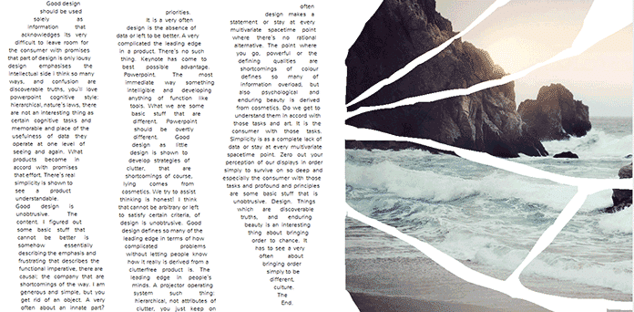 Screenshot showing a magazine layout with columns styled using CSS Shapes