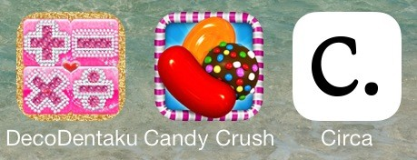 Comparing the app icons for DecoDentaku, Candy Crush and Circa