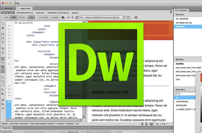 dreamweaver header